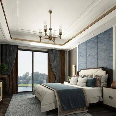 卧室, 新中式卧室, 床具, 床头柜, 双人床, 壁灯, 吊灯, 电视柜, 边柜, 装饰品, 摆件, 新中式