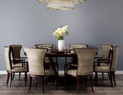 现代餐桌椅, 桌椅组合, 餐厅