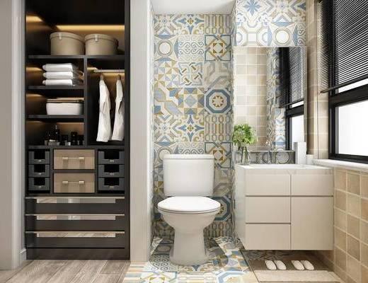 卫生间, 现代卫生间, WC, 马桶, 洗手盆, 置物架, 现代