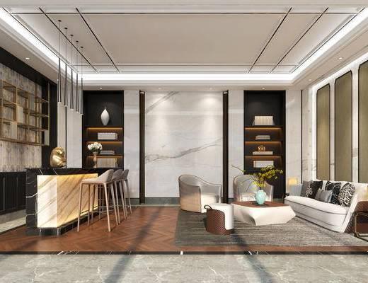 新中式包厢, 包厢, 大厅, 新中式大厅, 前台, 沙发, 椅子