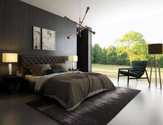 卧室, 双人床, 床头柜, 台灯, 吊灯, 装饰画, 挂画, 单人椅, 落地灯, 现代