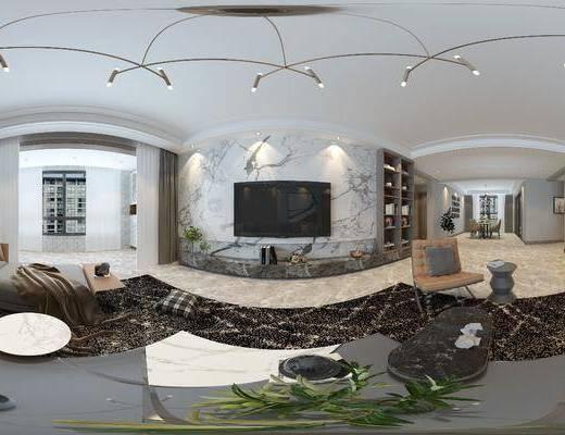 后现代客厅, 客厅, 沙发组合, 餐厅, 餐桌椅, 全景