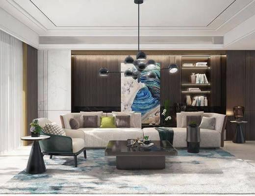 沙发组合, 沙发茶几组合, 装饰柜, 书籍, 吊灯, 摆件组合, 台灯, 挂画, 现代