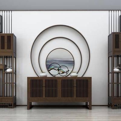 边柜, 装饰柜, 背景墙, 墙画, 柜架, 瓷器, 置物柜, 摆件, 装饰品, 新中式