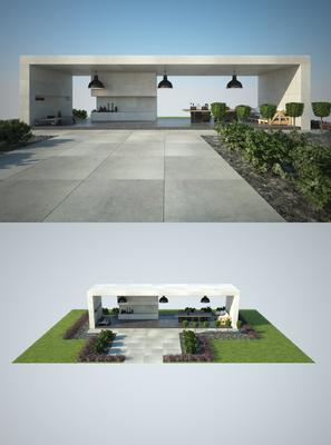 阳台露台, 绿植, 植物, 草地, 吊灯, 现代
