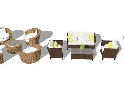沙发组合, 单椅, 单人沙发, 茶几