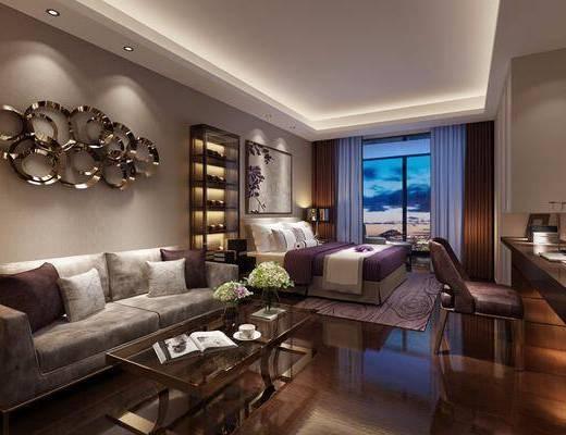 后现代轻奢公寓客房, 后现代, 公寓, 卧室, 沙发, 茶几, 床