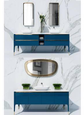 洗手台, 壁镜, 柜架组合, 花瓶