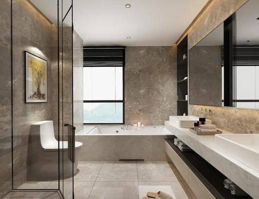 卫浴, 洗手间, 洗浴组合, 马桶, 洗手盆