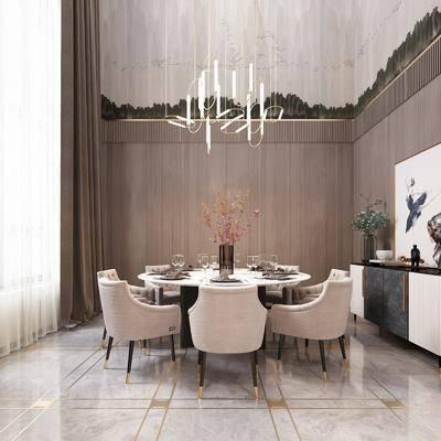 现代, 餐厅, 桌椅组合
