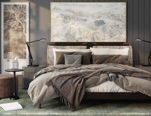 新中式, 床具组合, 双人床