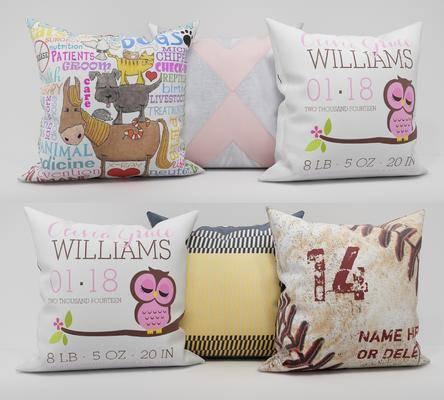 印花抱枕, 抱枕组合, 现代