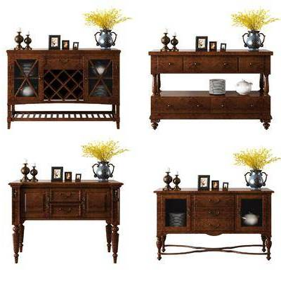 边柜, 餐边柜, 美式, 古典, 美式餐边柜, 摆件, 装饰品, 餐具, 花瓶, 花卉