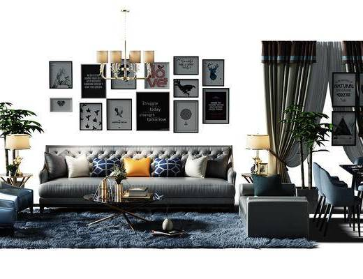 画, 挂画, 装饰画, 组合画, 吊灯, 盆景, 植物, 沙发椅, 地毯, 窗帘, 餐桌, 组合桌椅, 现代