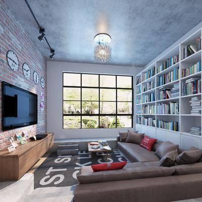 休息室, 书柜, 电视柜, 沙发组合, 娱乐室