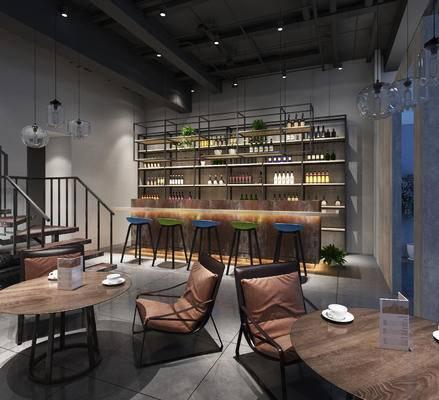 咖啡馆, 咖啡厅, 咖啡, 工业风, 现代, 吧台, 餐桌椅, 休闲椅, 桌子, 吧椅, 吧凳, 吊灯