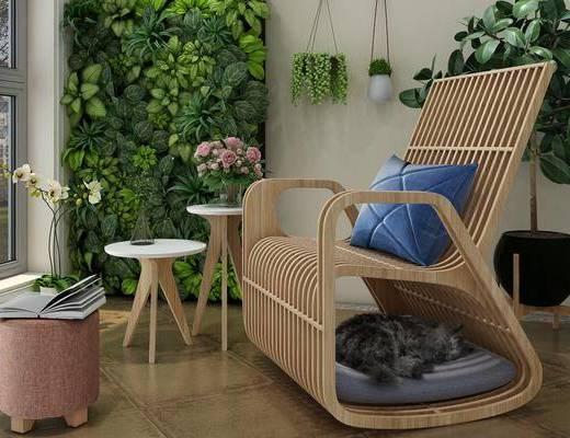 摇椅组合, 户外椅组合, 植物墙组合, 绿植植物, 新中式