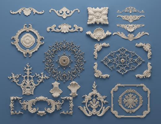 欧式罗马柱, 雕花, 石膏线, 对角花, 构件