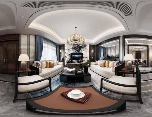 新中式客廳, 多人沙發, 吊燈, 茶幾, 邊幾, 邊柜, 茶桌, 餐桌, 單椅, 掛畫