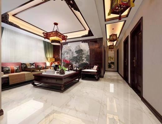 中式客厅, 客厅, 沙发组合, 餐厅, 餐桌椅