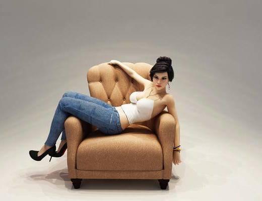 单人沙发, 美女, 女人, 现代