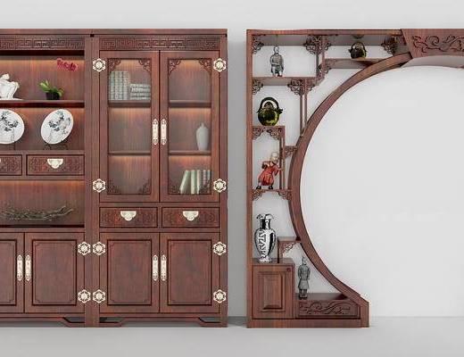 博古架, 置物柜, 书柜, 中式