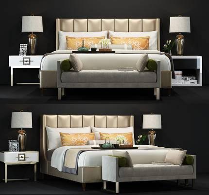 现代, 床具, 双人床, 床头柜, 置物柜, 台灯, 尾榻, 摆件, 相框
