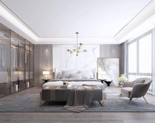 双人床, 吊灯, 单椅, 衣柜, 床尾踏, 床头柜, 台灯