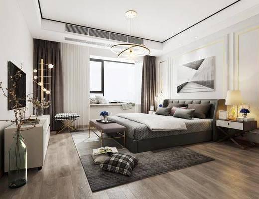 现代卧室, 卧室, 床具, 床, 电视柜, 装饰柜, 花瓶, 吊灯, 现代吊灯, 双人床, 床头柜, 台灯
