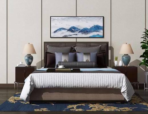 床头柜, 床具组合, 床头装饰, 挂画