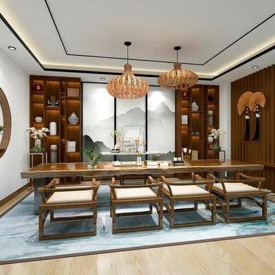 会客, 茶室, 茶具, 椅子, 吊灯, 桌椅组合