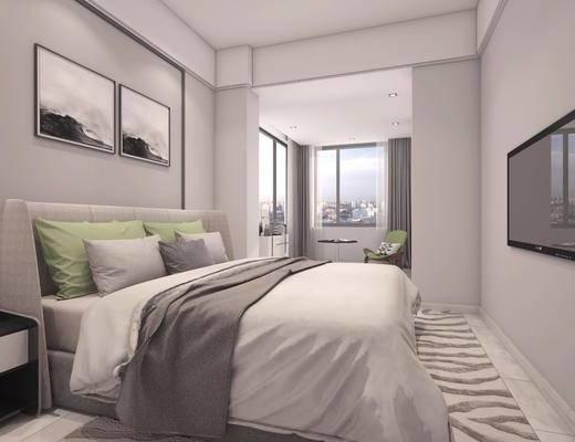 卧室, 现代简约卧室, 床具组合, 双人床, 床头柜, 装饰画, 台灯, 单椅, 椅子, 现代, 简约