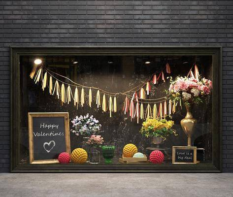 橱窗, 软装, 花瓶, 花卉, 装饰品, 挂件, 黑板, 现代