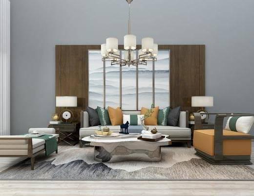 沙发组合, 多人沙发, 茶几, 单人沙发, 边几, 台灯, 躺椅, 吊灯, 装饰画, 挂画, 新中式