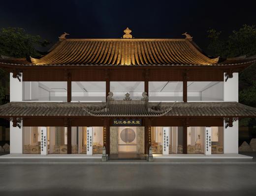 中式, 屋檐, 门面, 建筑