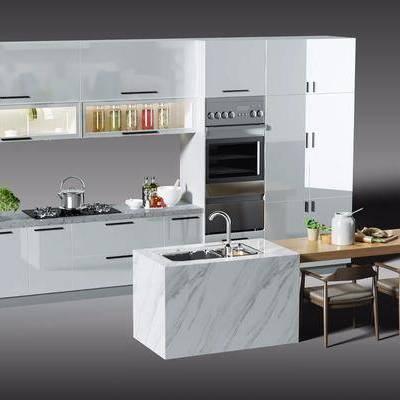 厨房, 橱柜, 餐桌, 椅子, 单椅, 置物柜, 餐具, 厨具, 器皿, 摆件, 烟灶消, 洗手台, 烤箱, 植物