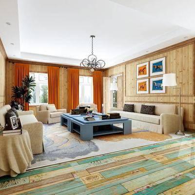 美式客厅, 美式沙发, 沙发组合, 沙发茶几组合, 美式