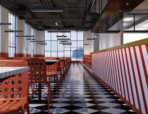 餐厅, 工业风餐厅, 通风管道, 桌椅组合, 前台