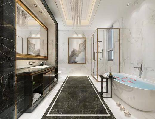 浴室柜, 衛生間, 浴缸淋浴房, 花灑, 洗手臺組合, 裝飾鏡, 現代