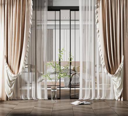 现代主卧窗帘