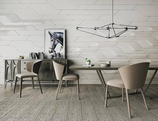 北欧简约, 餐桌椅组合, 吊灯, 边柜, 陈设品组合, 北欧
