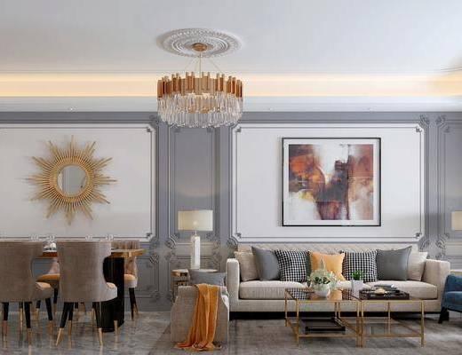 美式客厅, 客厅, 沙发组合, 餐厅, 餐桌椅