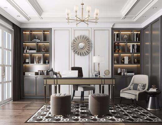 桌椅組合, 墻飾, 吊燈, 擺件組合, 單椅, 書柜