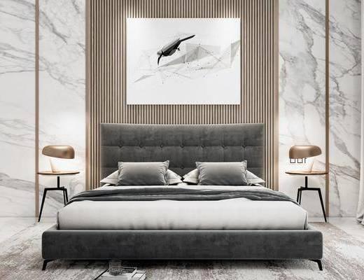 装饰画, 双人床, 床具组合