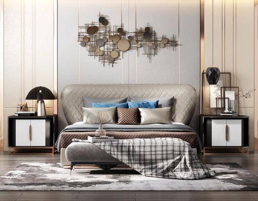 双人床, 床具组合, 墙饰