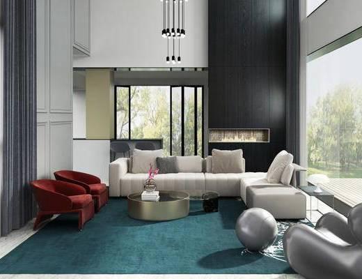 别墅, 客厅, 沙发茶几组合, 沙发椅, 吊灯, 现代