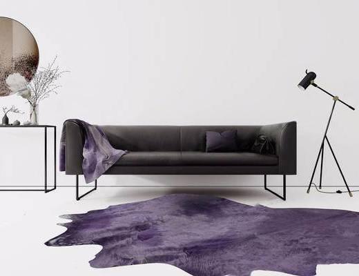 落地灯, 沙发组合, 边几, 地毯, 摆件组合