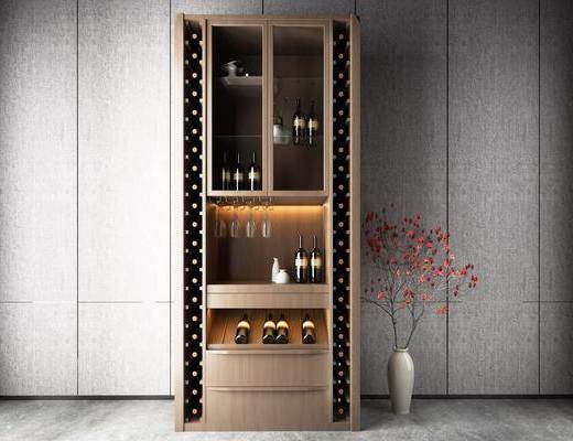 现代, 酒柜, 酒, 花瓶