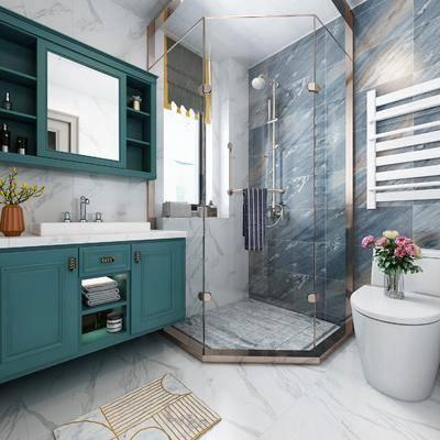 卫浴, 卫生间, 美式卫生间, 淋浴间, 洗手台, 卫浴小件, 洗涤用品
