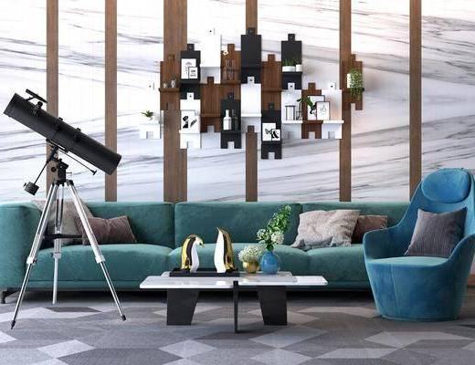 多人沙发, 茶几, 望远镜, 单人沙发, 墙饰, 现代